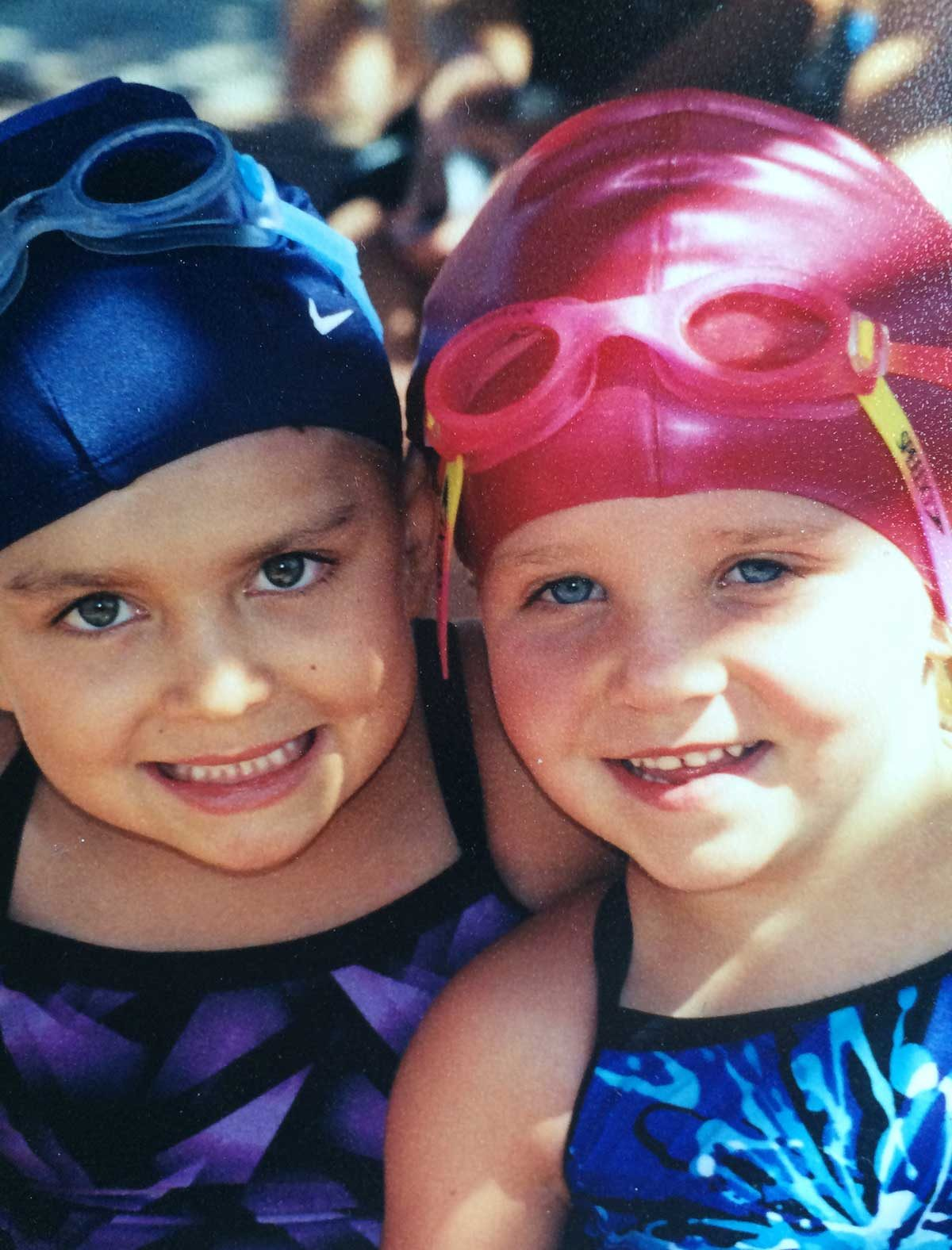 Darby and Gabby at the pool