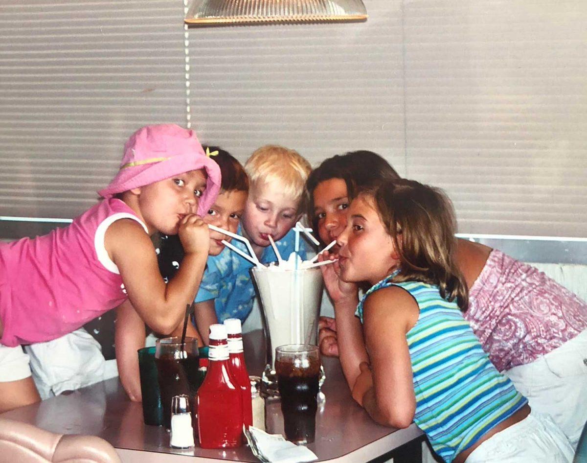 Kids drinking a milk shake