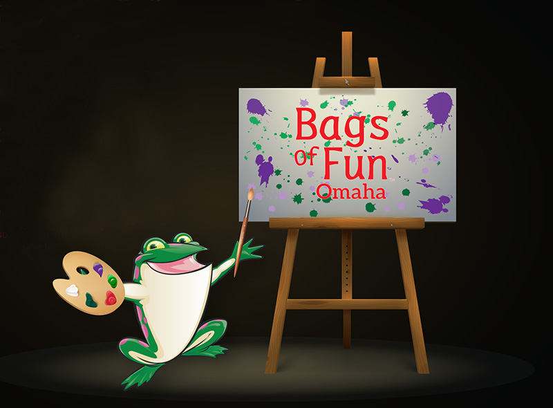 Illustration of the Bags of Fun frog painting